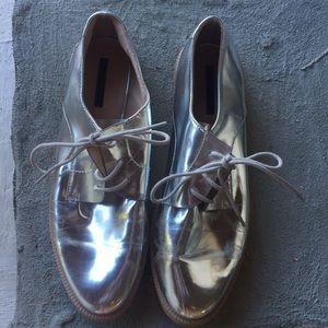 Zara Metallic Silver Loafers